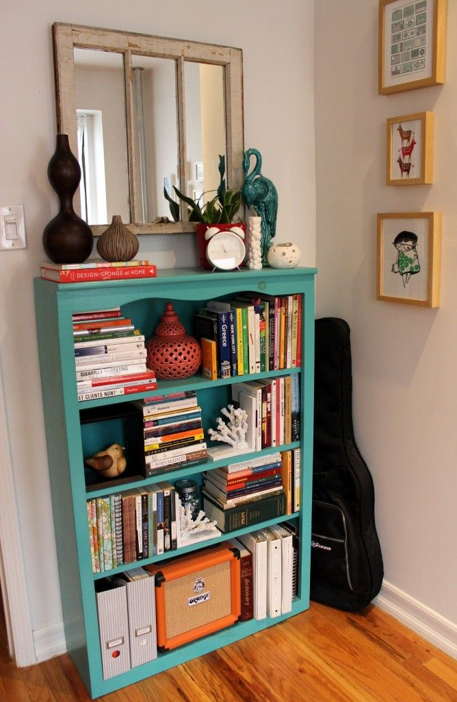 Teal Bookcase Can T Wait To Paint My Thrift Store Bookcase I