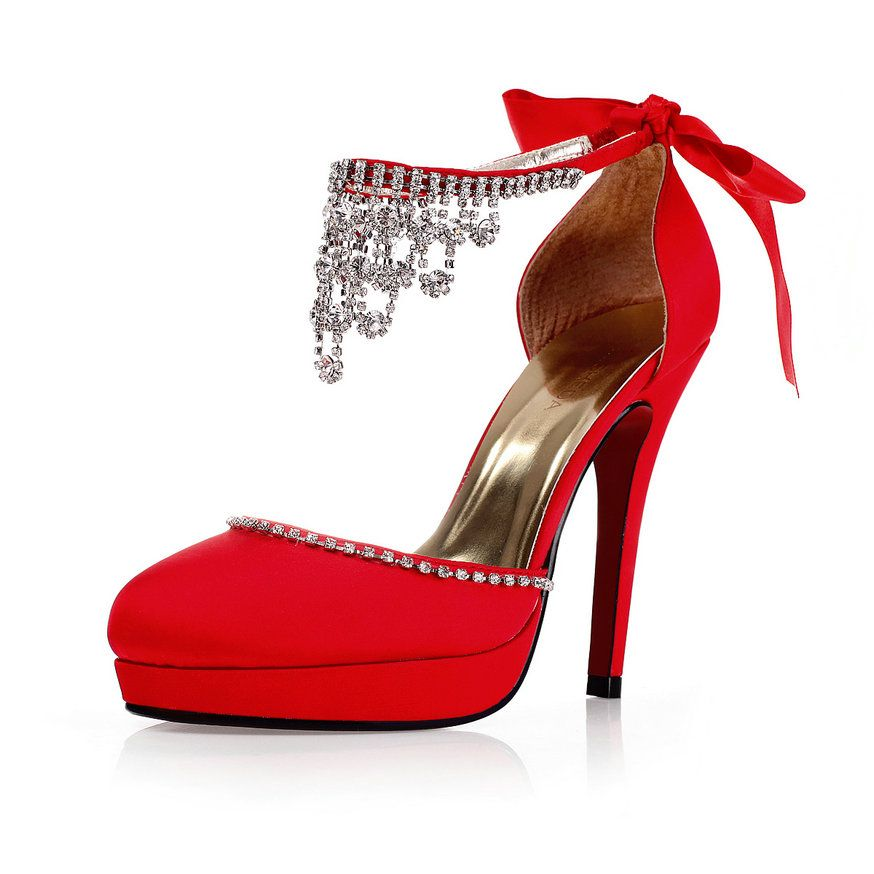 Satin Close Toe Bow Sandals Rhinestone Platform Red Wedding Evening Shoes High Heel 11cmWedding