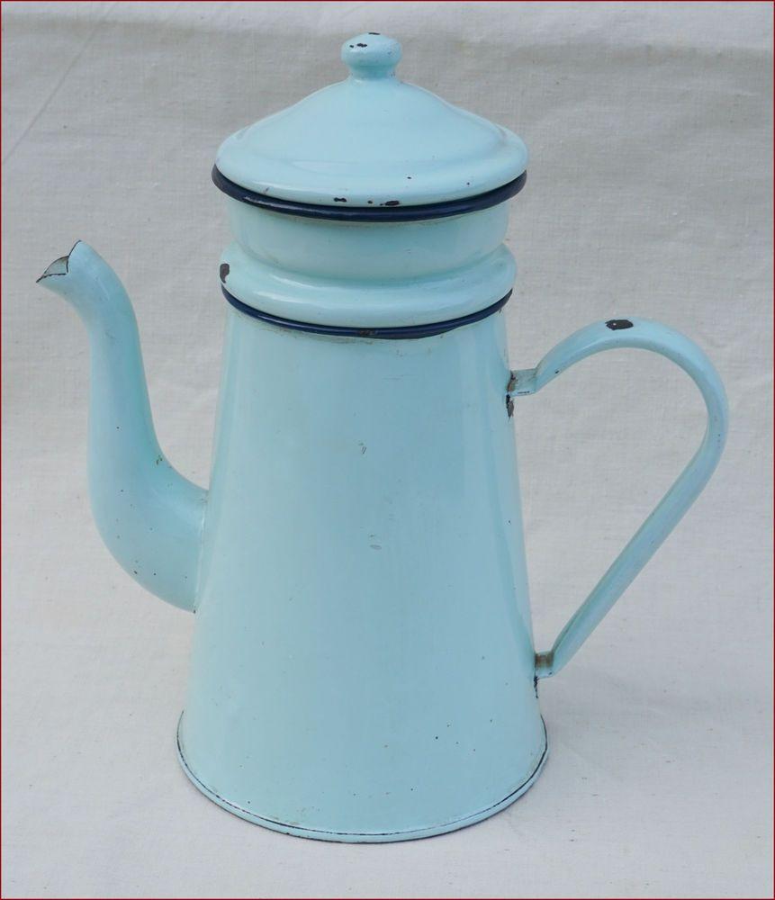 French enamelware blue enamel coffee pot complete ca1900