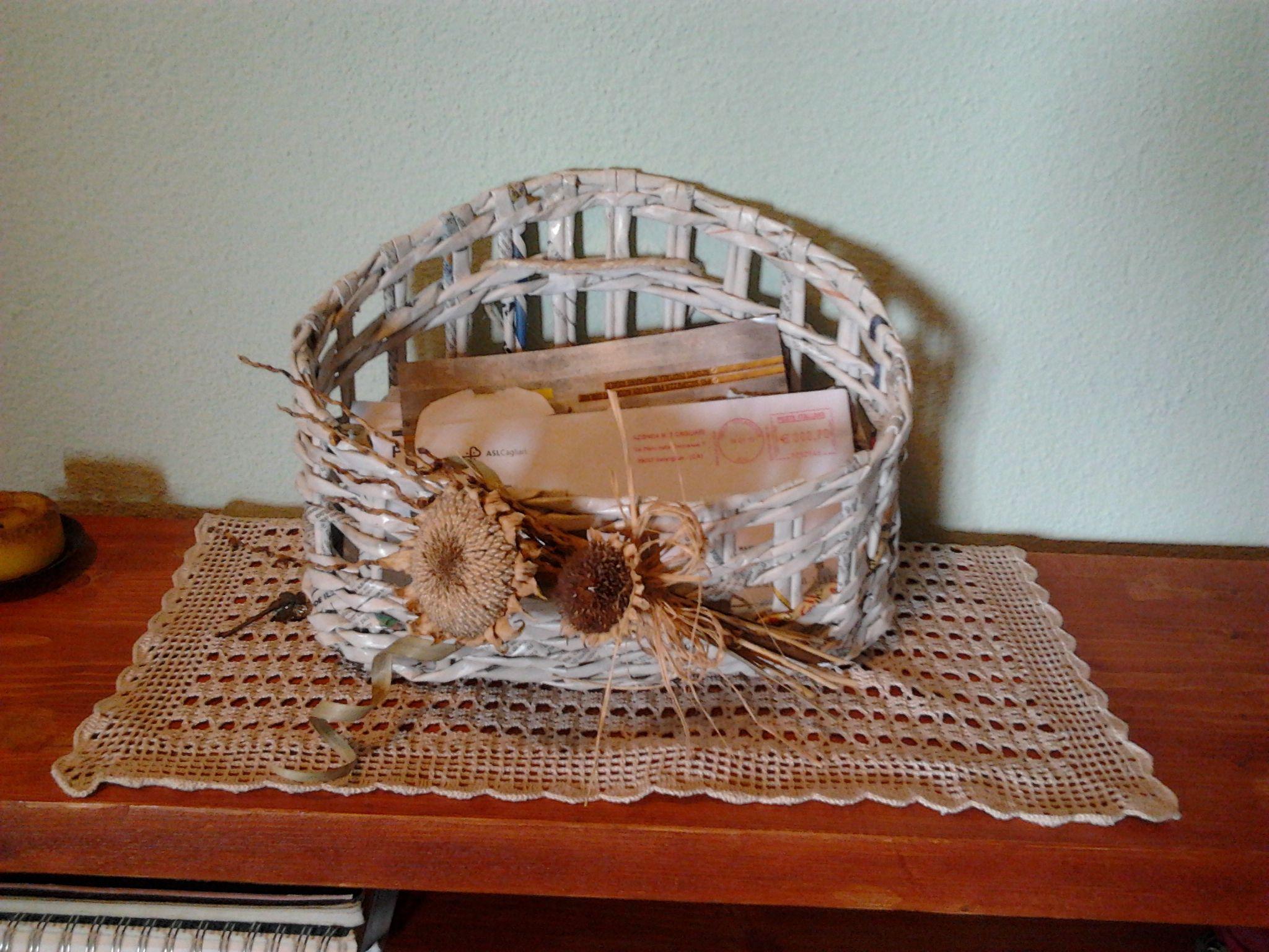 cesta portatutto riciclando la carta di giornale.       realizzata da Giuseppina Monni.