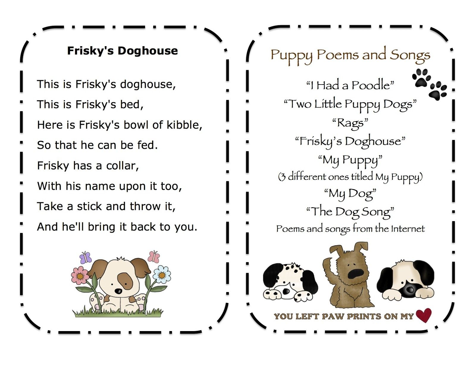 Preschool Printables Puppy Songs Amp Poems Printable