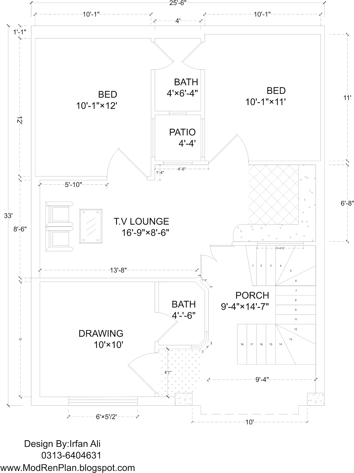 5 Marla House Plan And Map With Detail 25x33 House Plan With