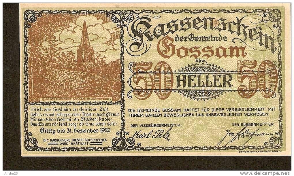 Austria Kassenschein Der Gemeinde Gossam 50 Heller 1920 Bank Notes Vintage World Maps Austria