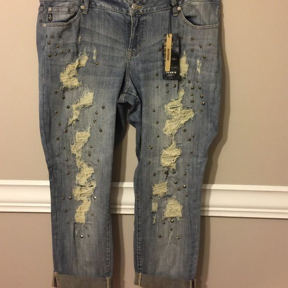 Boyfriend Jeans Torrid Premium Boyfriend Jeans with distress and studying Detail Torrid Jeans Boyfriend