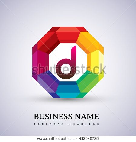 Colorful Letter D logo design in the hexagon. Vector design template elements for your application or company logo identity. - stock vector