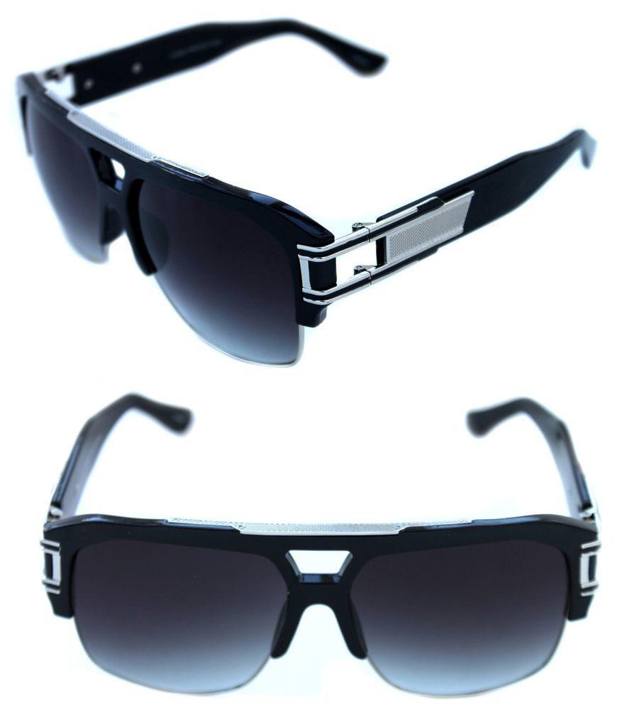 bce805f17f2 Men s Hip Hop 80s Vintage Grandmaster Five Sunglasses Gazelle Large Black  Silver  Unbranded  Grandmaster5