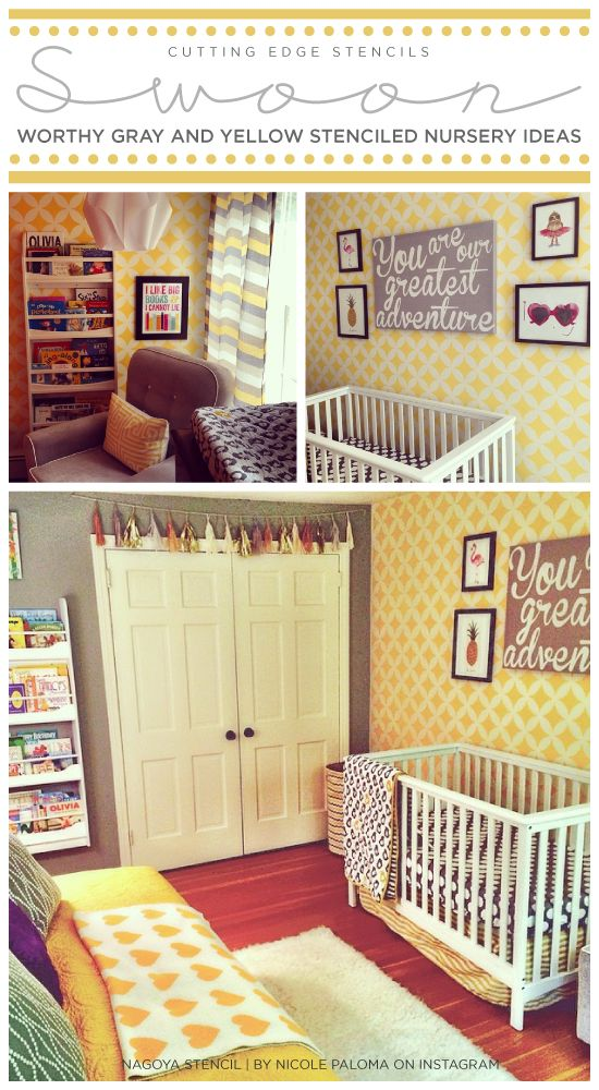 Swoon-Worthy Yellow and Gray Stenciled Nurseries | Pinterest ...