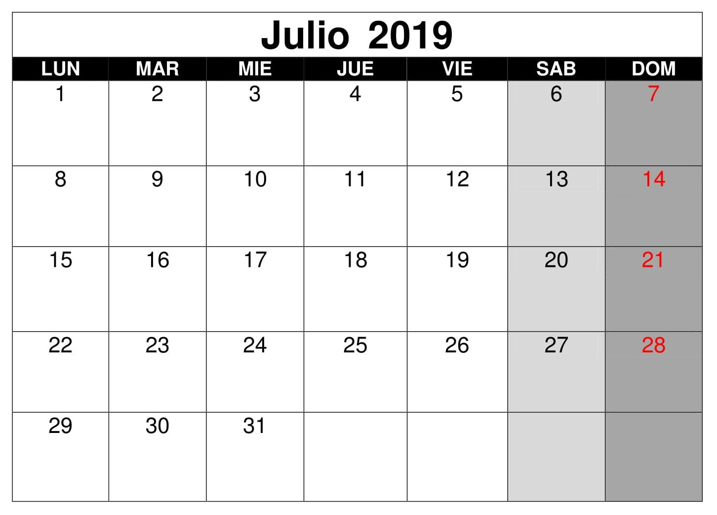 Julio Calendario Vacaciones 2019 Monthly Calendar Template