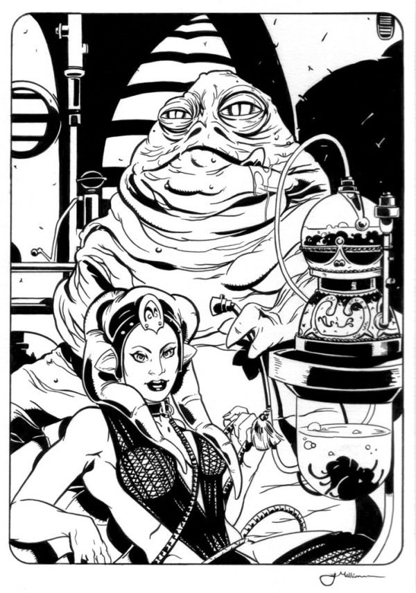 Jabba and Oola Ink Drawing by Jeff Mallinson | Ink drawing ...