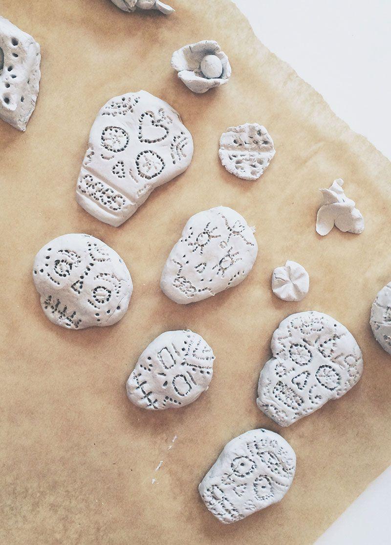 Make An Air Dry Clay Sugar Skull Bead Necklace Air Dry