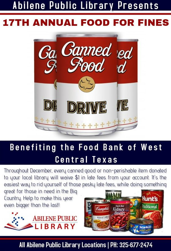 News/Events @ Your Library: Food for Fines Feeds Bodies & Minds   Library News Release