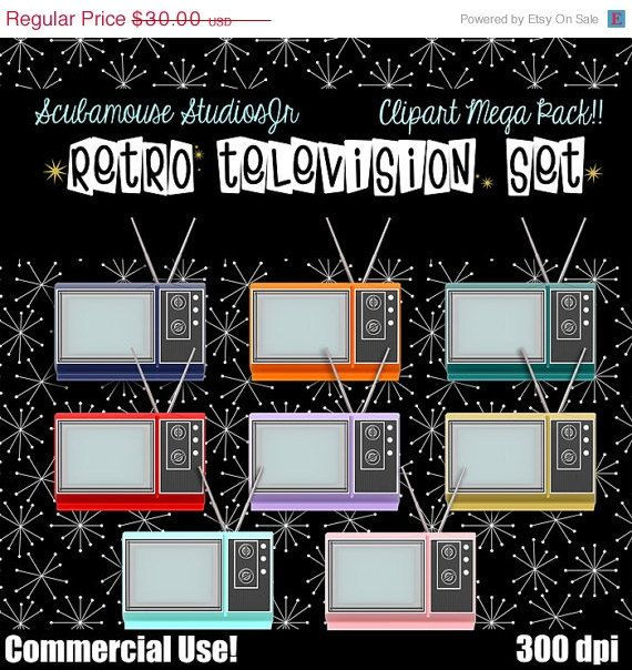70 OFF SALE tv clipart Commercial Use by ScubamouseStudiosJr