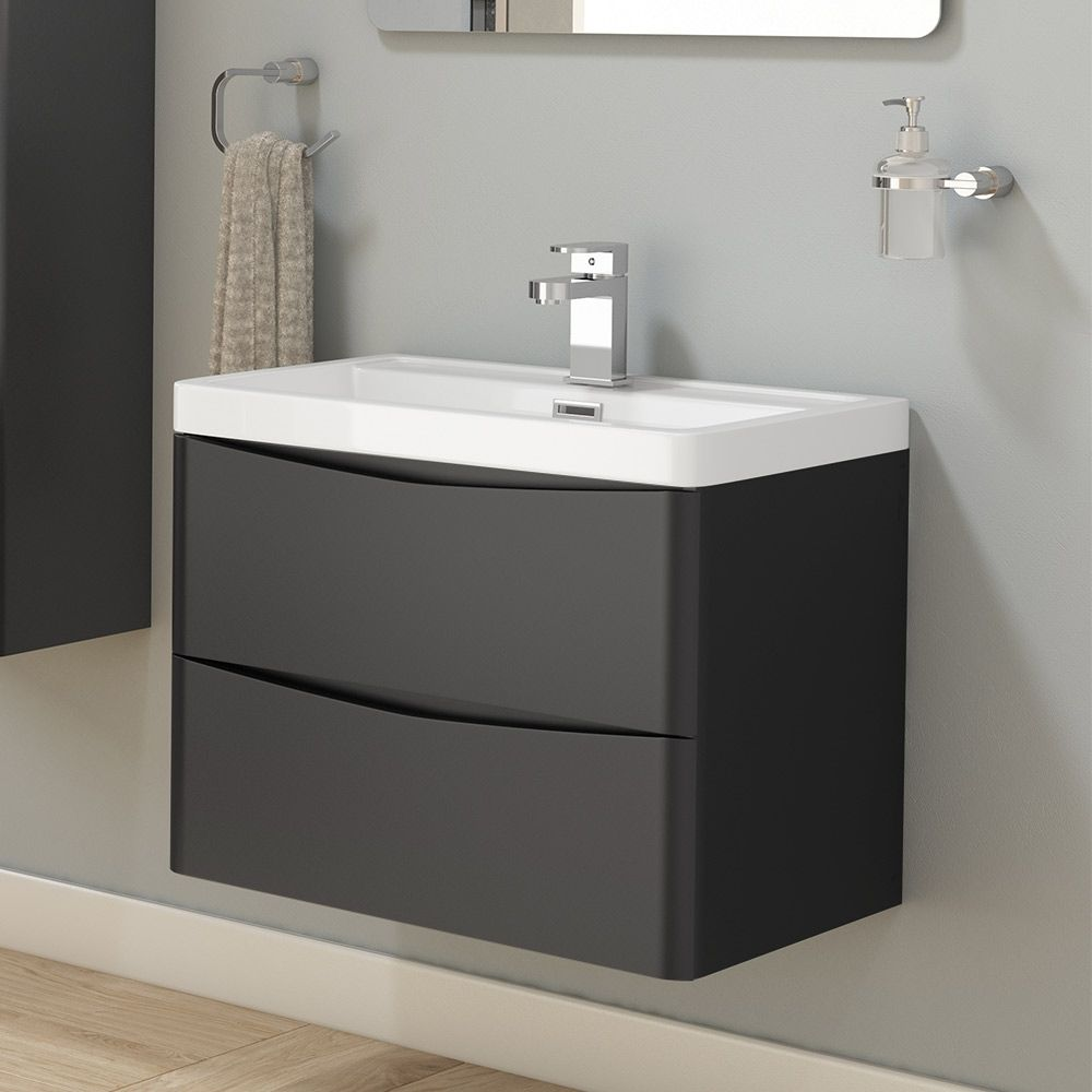 Harbour Clarity 600mm Wall Hung Vanity Unit Basin Matt Graphite Grey Wall Hung Vanity Grey Bathrooms Designs Vanity Units