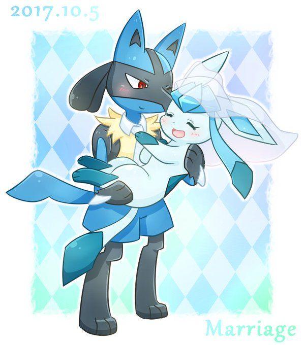 Lucario X Glaceon Pokemon Eeveelutions Pokemon Eevee Eevee Cute
