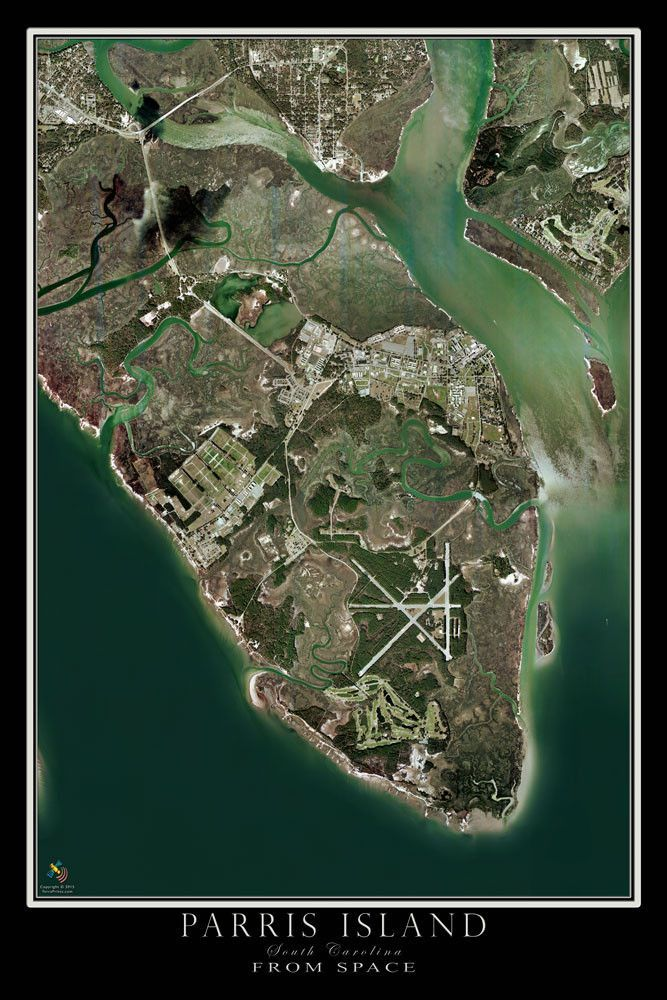 Parris Island South Carolina Satellite Poster Map Paris Island