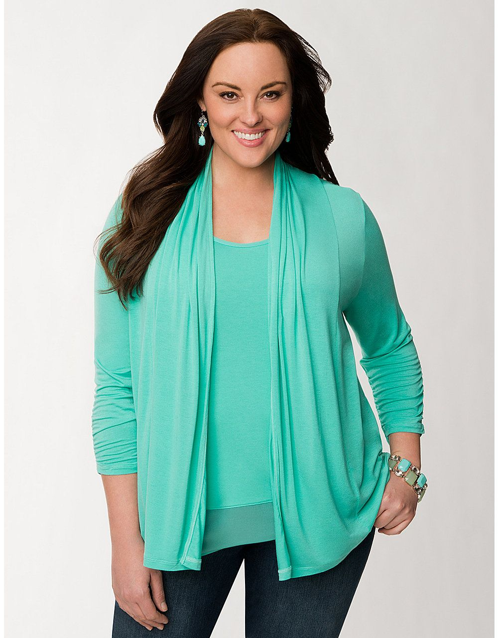Plus Size 3/4 Sleeve Knit Cardigan by Lane Bryant | Lane Bryant ...