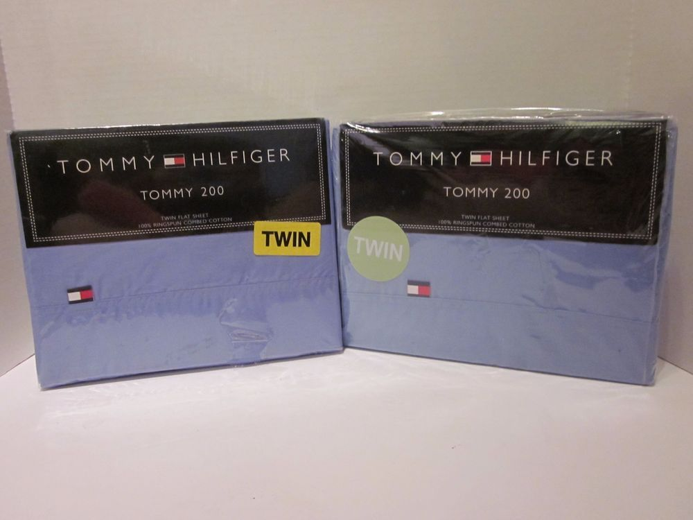 2 Tommy Hilfiger Tommy 200 Twin Flat Sheets New Blue 100% Ringspun Cotton #TommyHilfiger