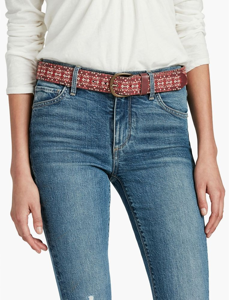 NEW LUCKY BRAND EMBROIDERED LEATHER BELT SIZE MEDIUM MSRP $ 69.50