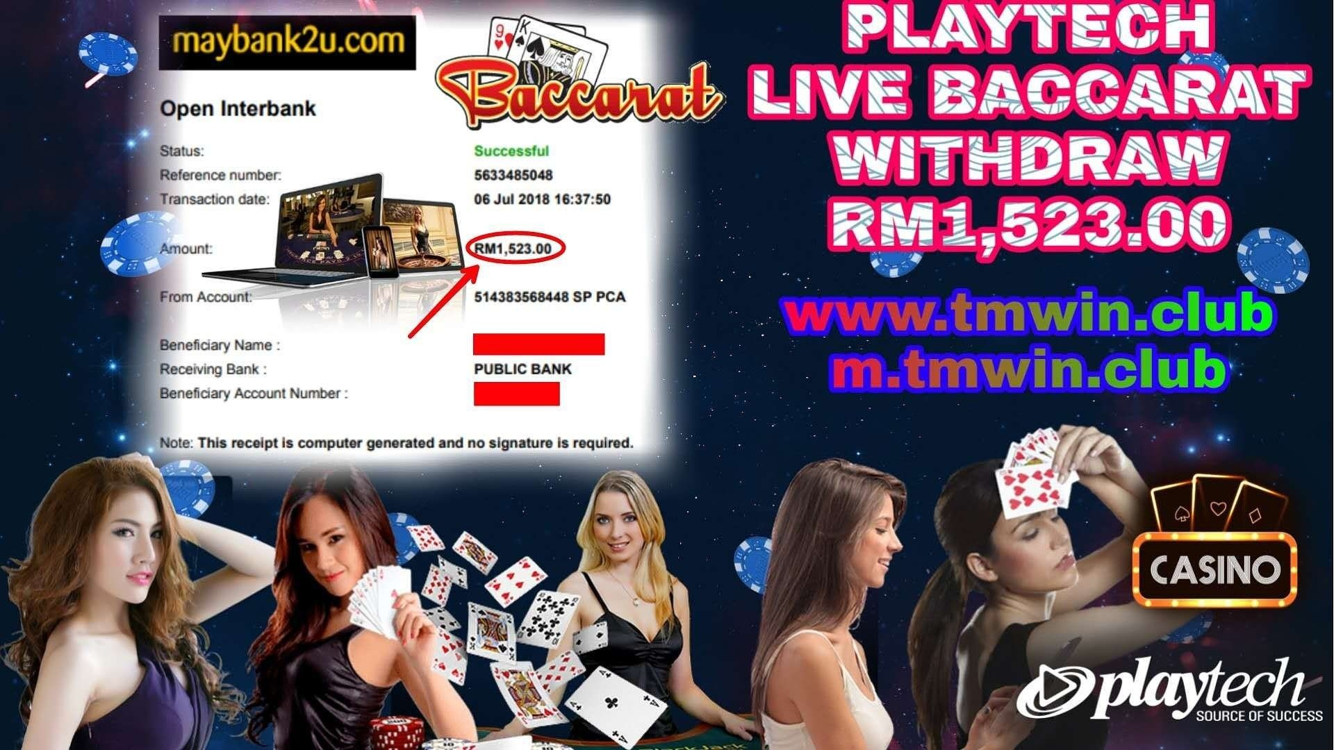 PLAYTECH Live Baccarat Withdraw RM1,523.00