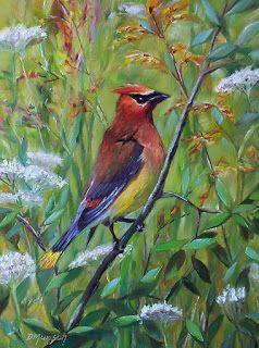 Donna Munsch Fine Art: Original Oil Painting Cedar Waxwing