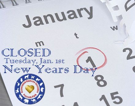 We will be closed Tuesday January 1st.