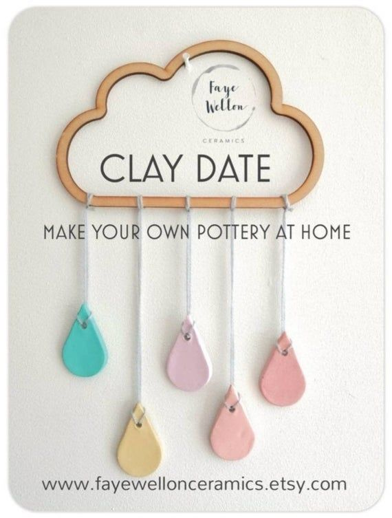 CLAY DATE at home, air-dry clay pottery kit, set of 3 make your own modelling projects for beginners