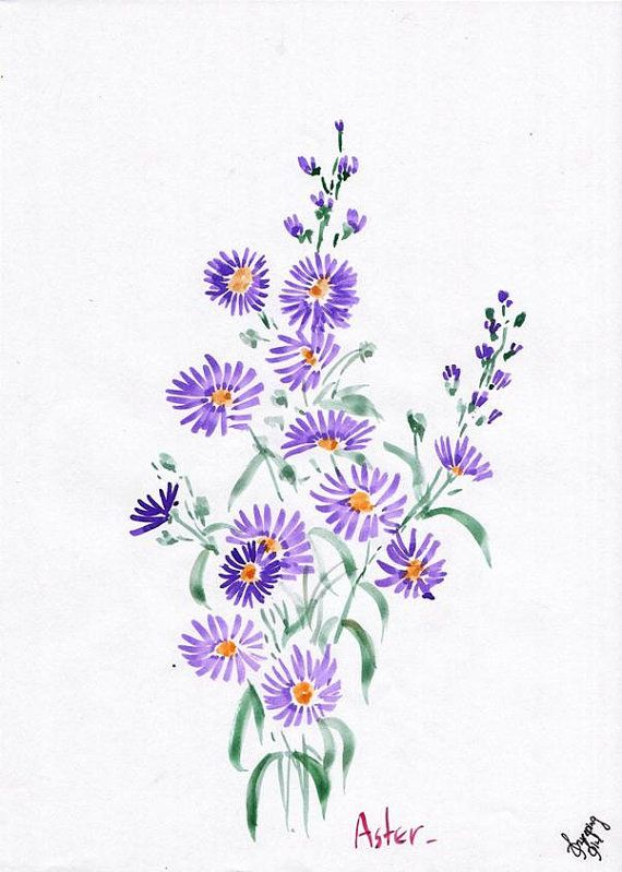Asters Watercolor Instant Download Wall Decor Poster Scrapbooking Bridal Shower Party Wedding Aster Flower Tattoos Birth Flower Tattoos Flower Tattoo Designs