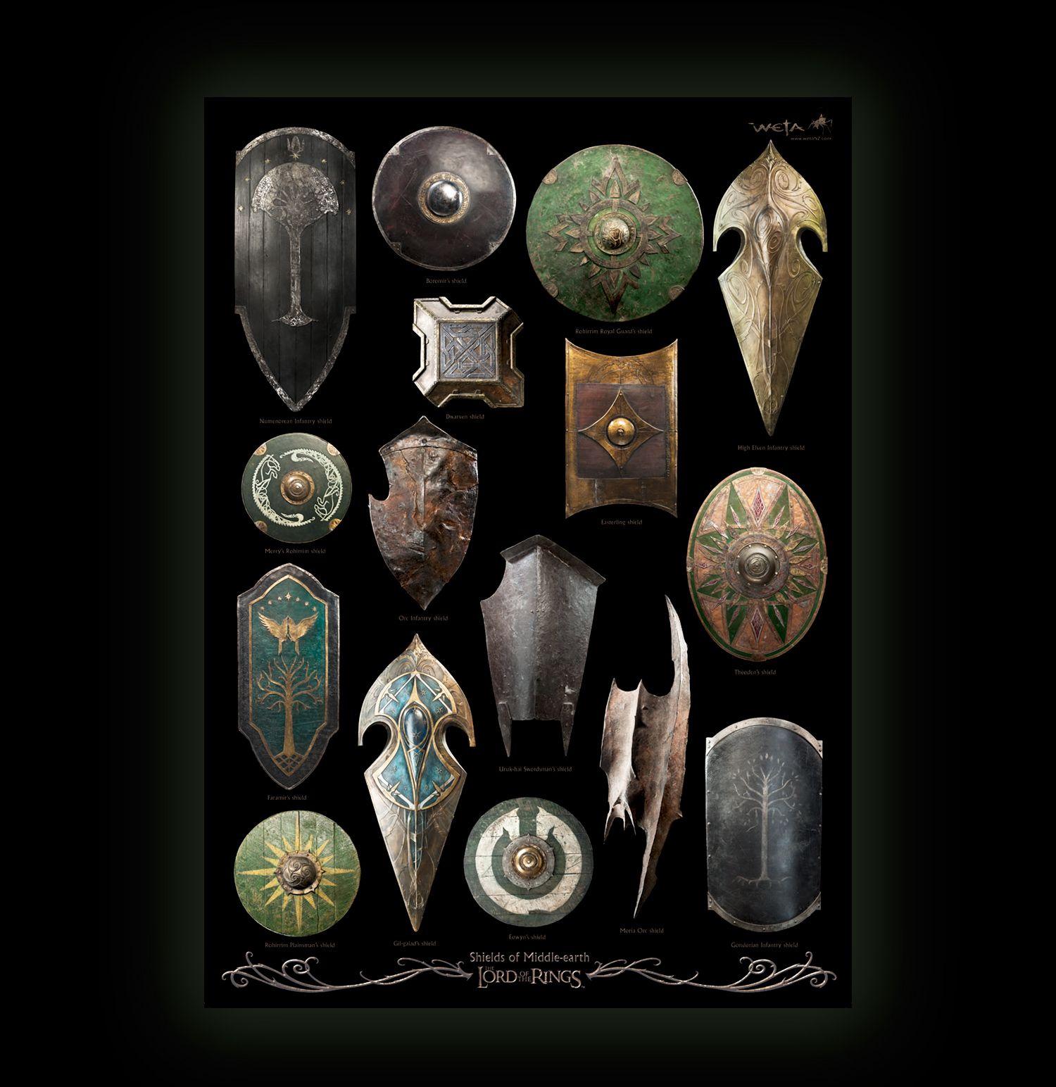 Shields From Lotr Right Then Pinterest Lotr
