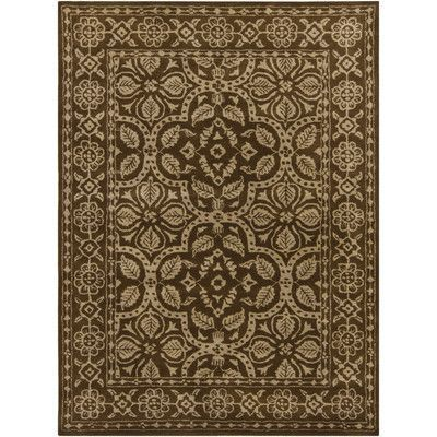 "Chandra INT Brown/Tan Floral Border Area Rug Rug Size: 7'9"" x 10'6"""