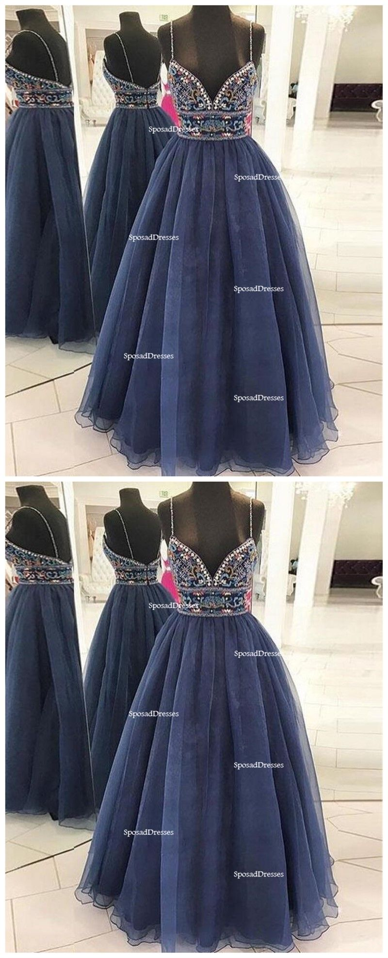Sexy spaghetti backless navy a line long evening prom dresses