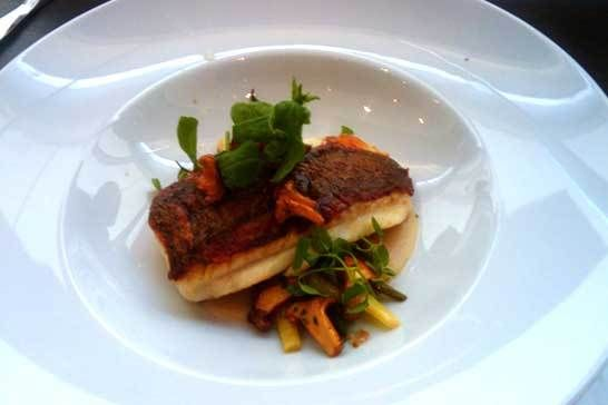 Dried Porcini Crusted Halibut, White Bean Mousseline, Wild Mushroom Ragout and Upland Watercress with Jane Myung