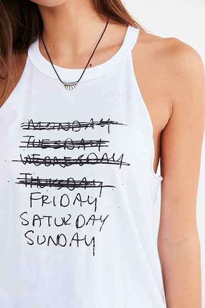 Truly Madly Deeply Friday Saturday Sunday Tank Top - Urban Outfitters