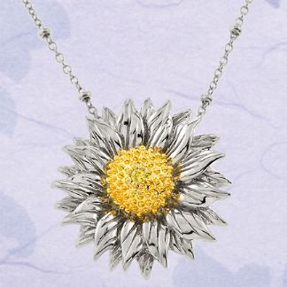 40 sunflower cz silver pendant necklace my wedding ideas 40 sunflower cz silver pendant necklace aloadofball Image collections