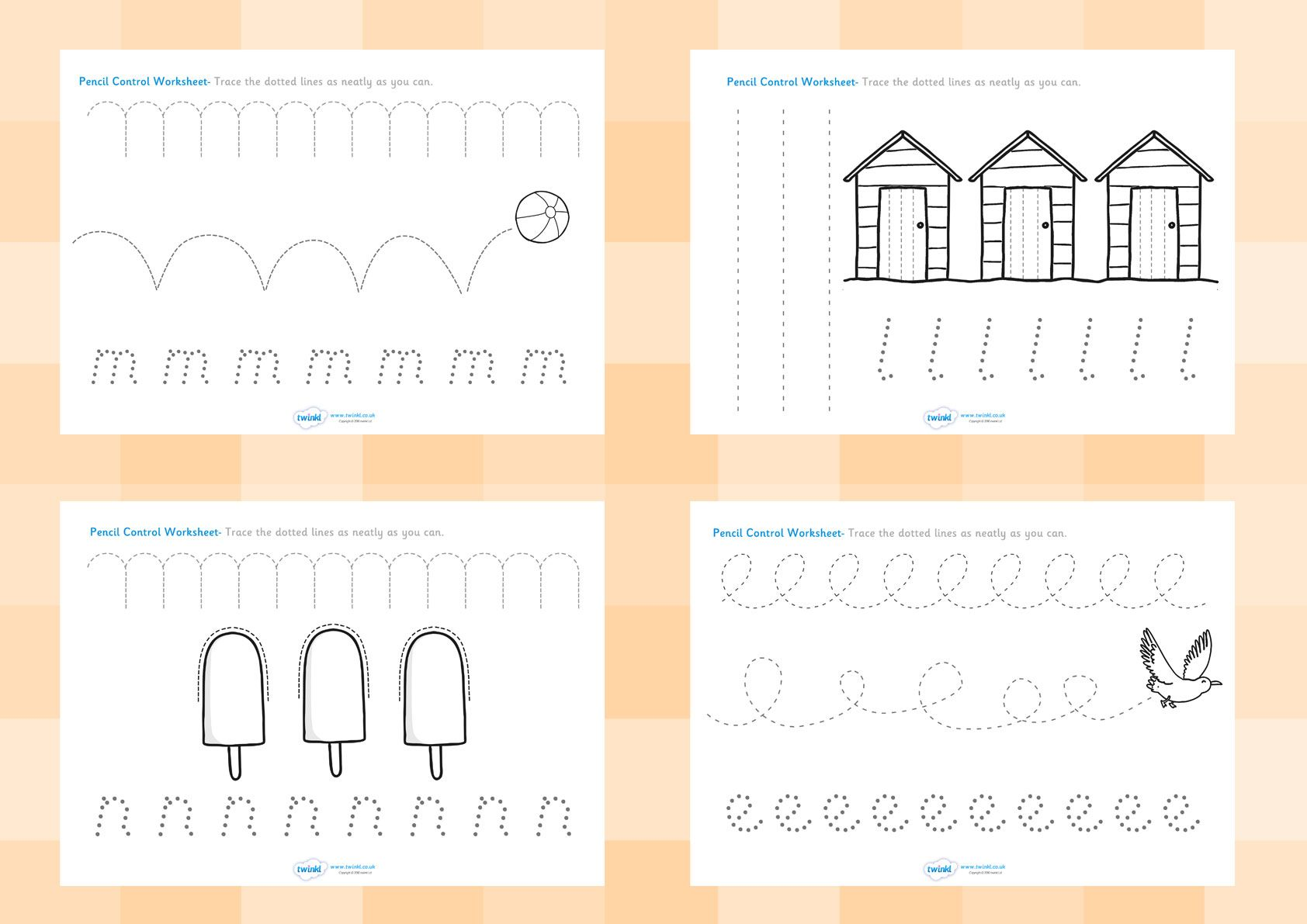 twinkl resources seaside pencil control worksheets printable resources for primary eyfs. Black Bedroom Furniture Sets. Home Design Ideas