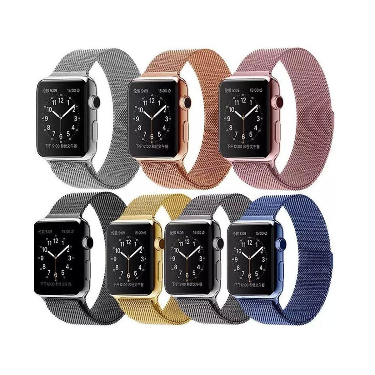 Luxury Milanese Loop Strap & Link Bracelet Stainless Steel Band Adjustable Closure for Apple Watch 42mm 38mm