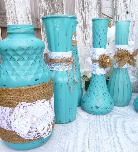 Red Turquoise Not Just For Holiday Decor: Turquoise RUSTIC SHABBY CHIC Vases With Burlap By