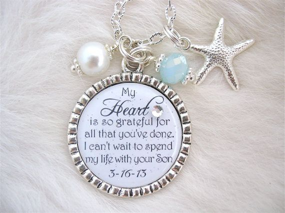 MOTHER Of The Groom Gift Mother Bride Keepsake BRIDAL GIFT Man My Dreams Pendant Necklace Beach Jewelry Mil Thank You Wedding