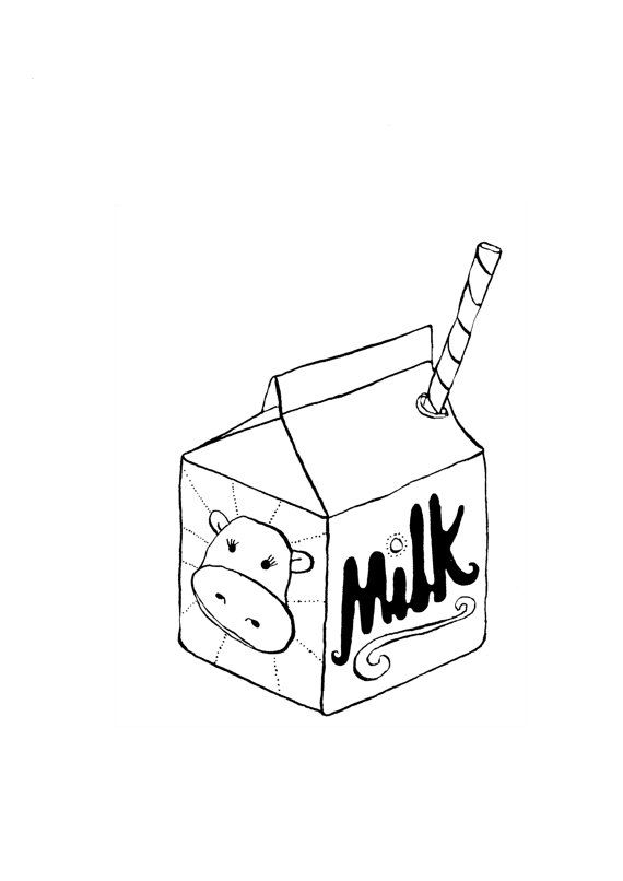Black Milk Carton Illustration Digital Print With Images
