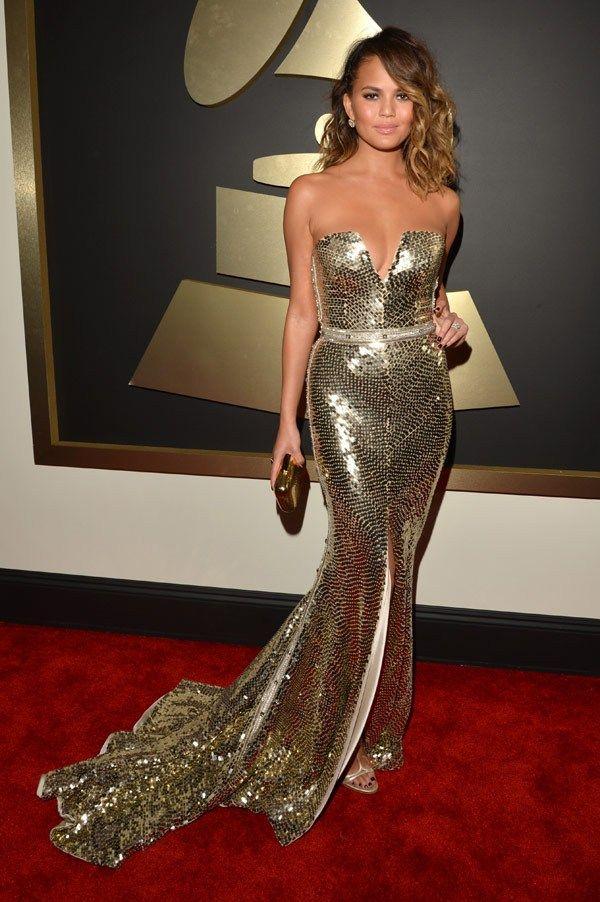 Chrissy Teigen at the 2014 Grammy Awards