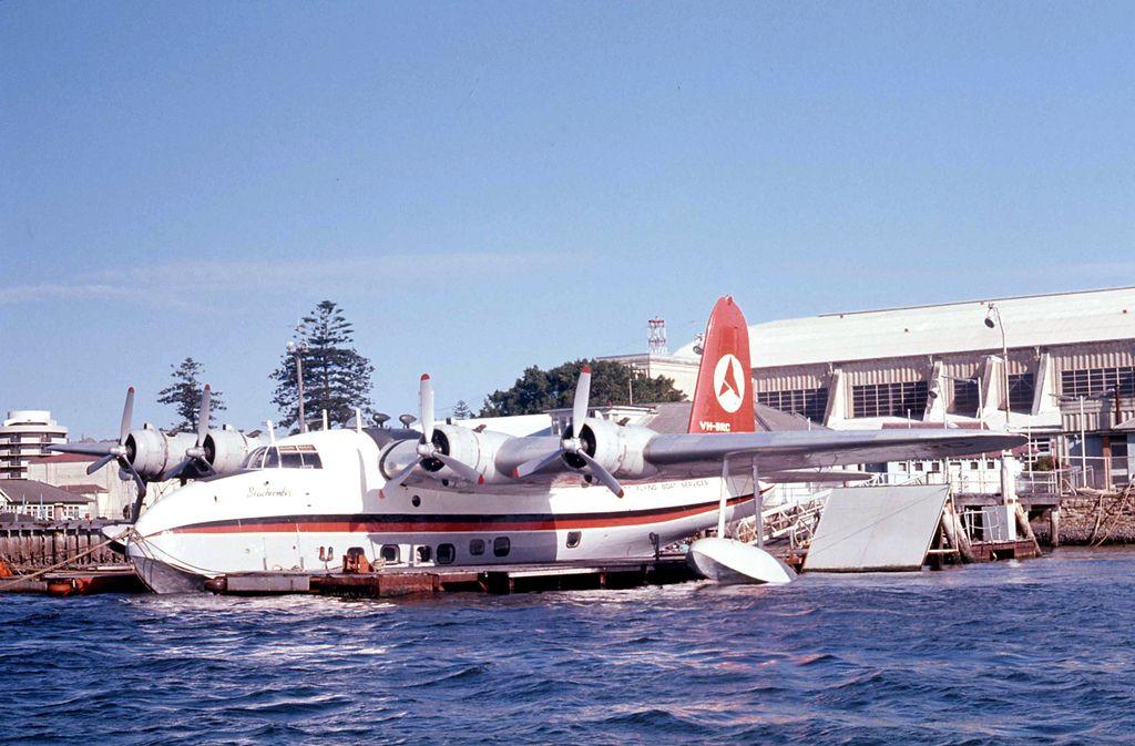 Ansett sunderland flying boat vhbrc at base at rose bay