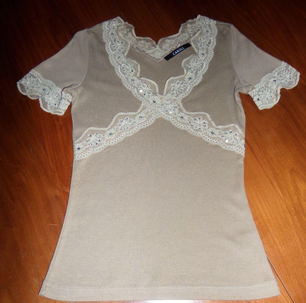e32f6061901bc CAROLL TEE-SHIRT avec TRASS,perles et sequins en coton et modal T 36 ...