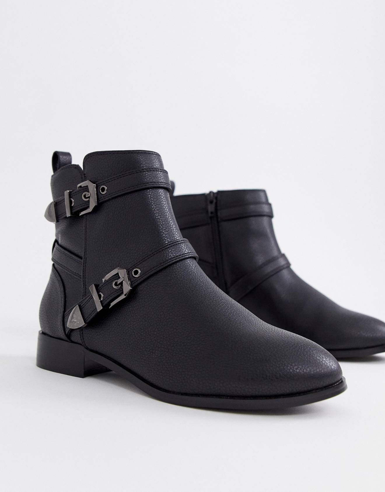78a2f7f2a63 Faith Wide Fit Wuckle black flat multi buckle ankle boots