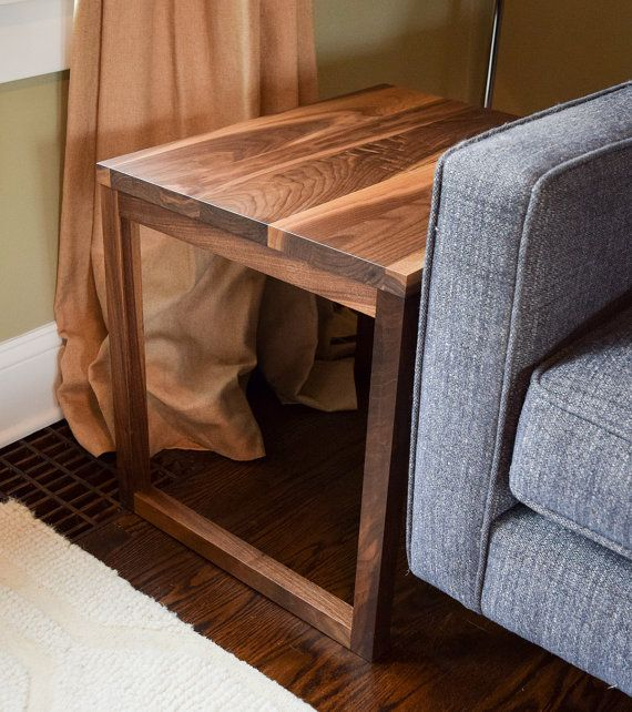 Modern Solid Walnut End Table Terp Living One Collection