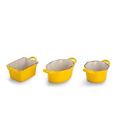 Take A Look At This Yellow Ceramic Ramekin Set By Cypress Home On Zulily Today Also In Green Orange Accessori Da Cucina
