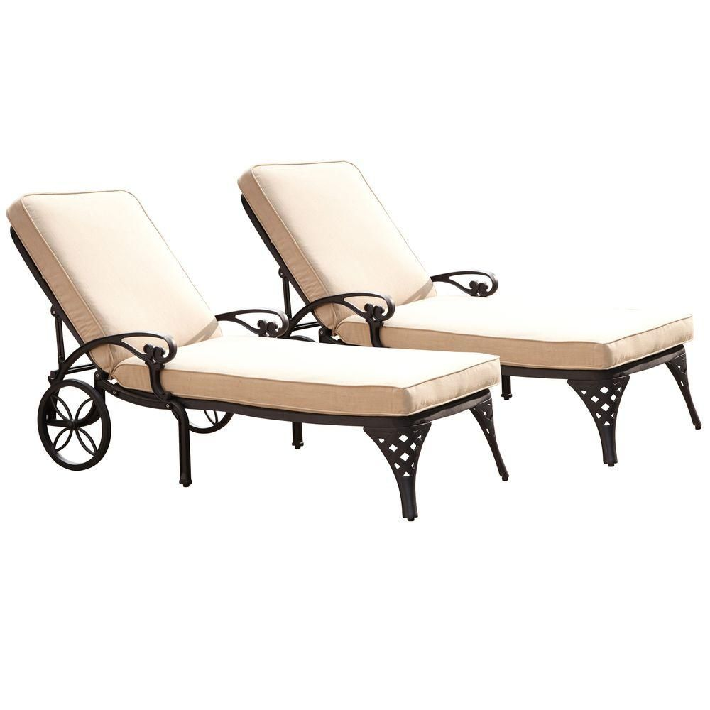 Patio Chaise Lounge With Taupe Cushion