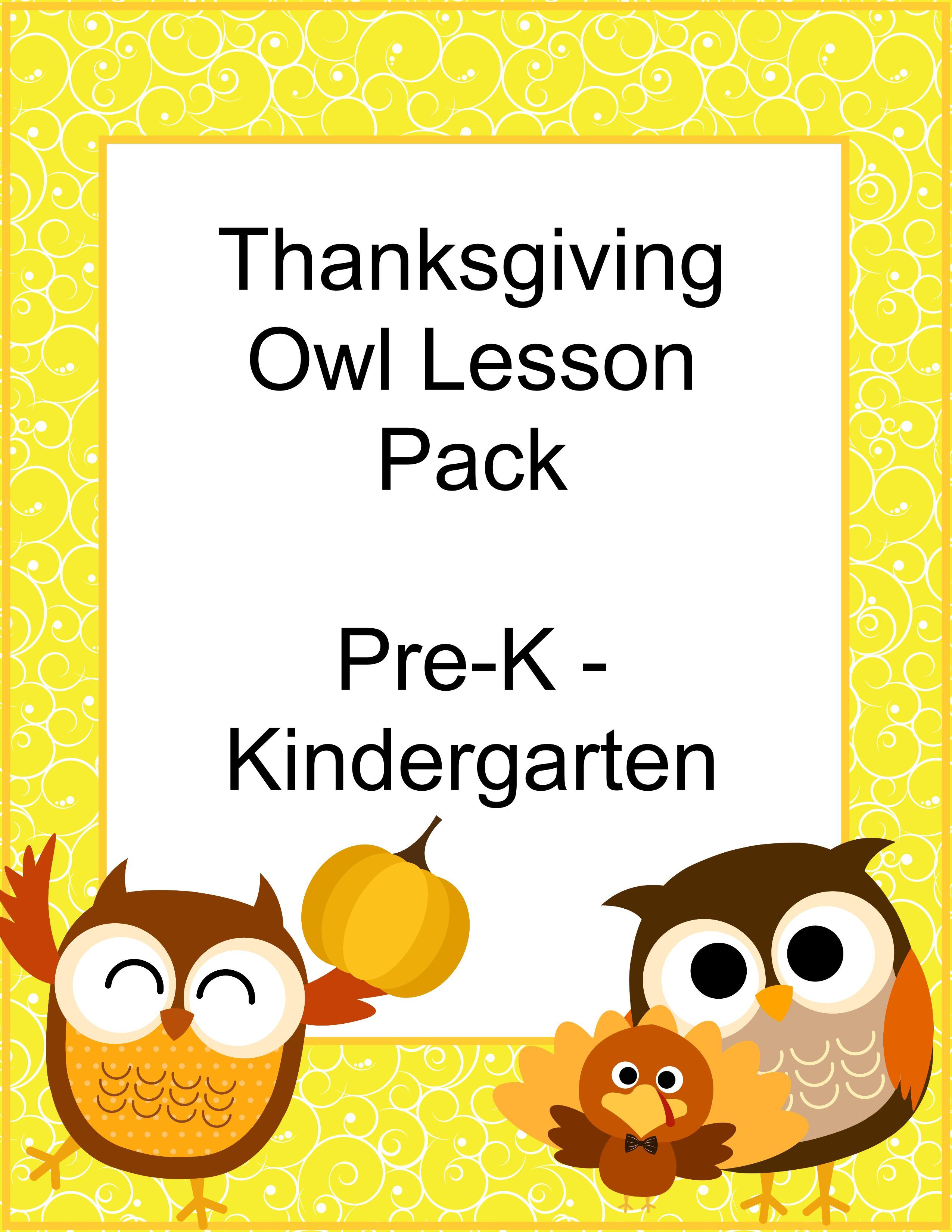 Free Homeschool Thanksgiving Owl Printable Pack