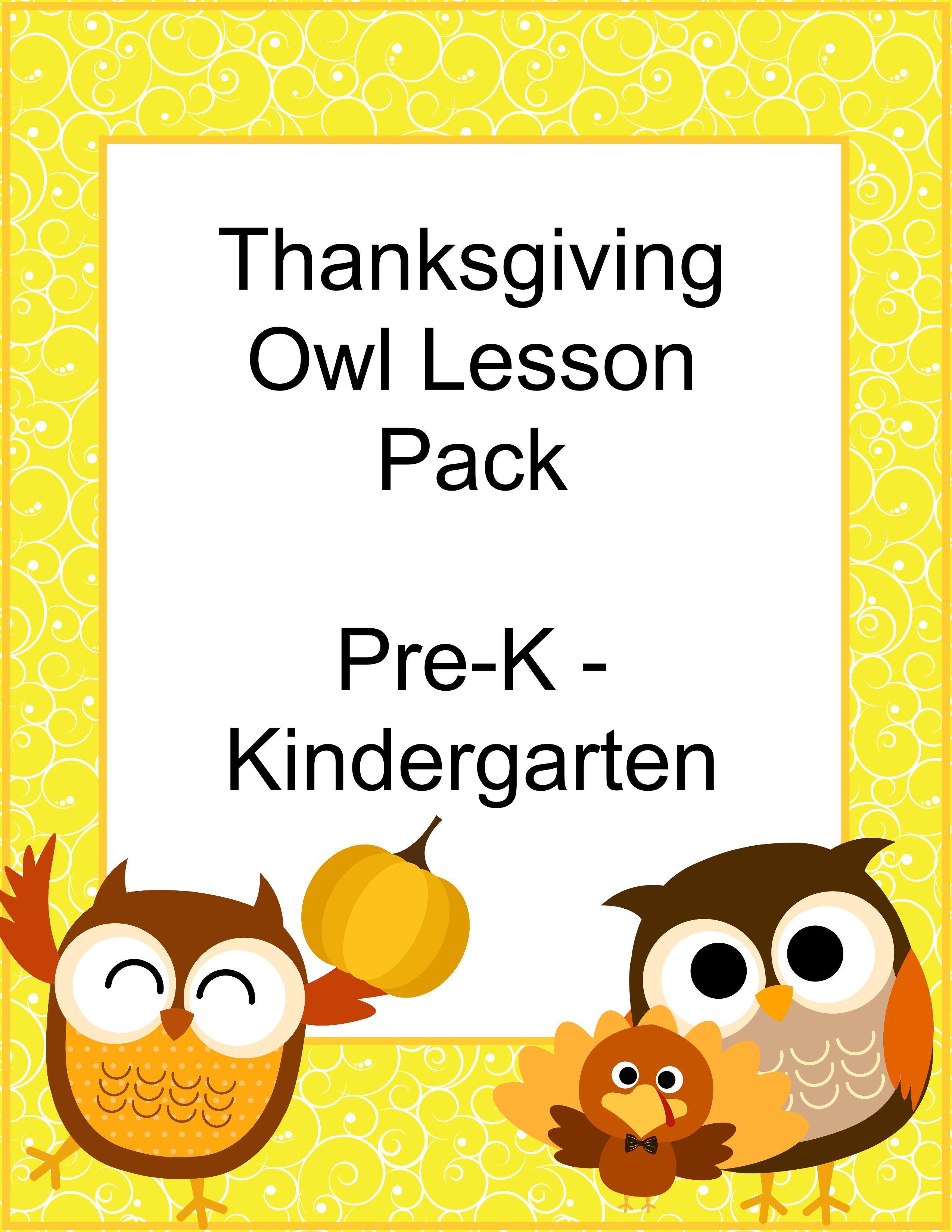 Free Homeschool Thanksgiving Owl Printable Pack