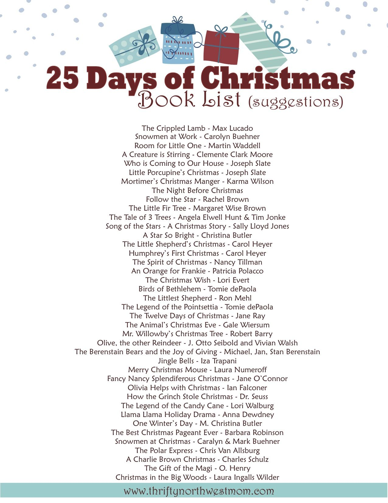 Gifts ideas for the 25 days of christmas