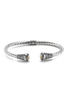 Samuel B Jewelry 18K Gold & Sterling Silver Bali Twisted Hinged Cable Bangle
