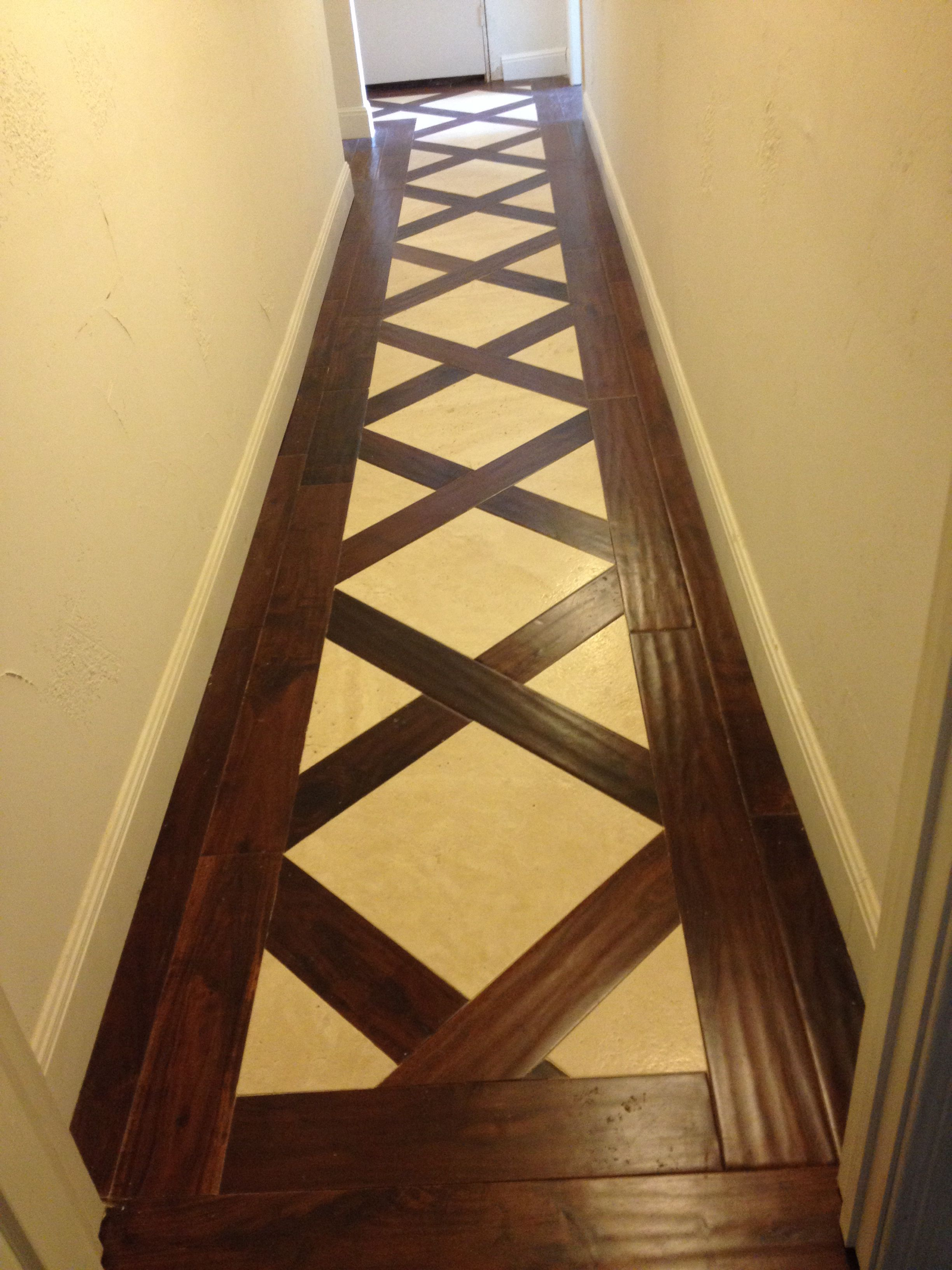 Hallway Floor Wood And Travertine Mix Home In 2019